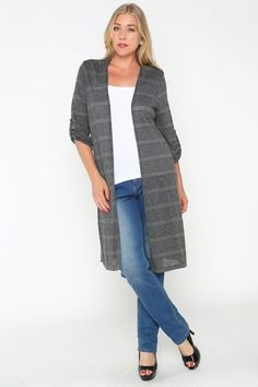 Chic, Straight Cut Long Knit Cardigan perfect on a casual day.