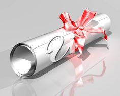 iCLIPART - 3D Clip Art Illustration of a diploma rolled into a scroll and tied with a ribbon