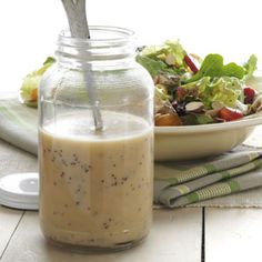 Recipes for Salad Dressing - Homemade salad dressings are the perfect finishing touch for your greens. Find recipes for vinaigrette salad dressings, strawberry salad dressing, blue cheese salad dressing and food Salad Dressing Recipes, Salad Recipes, Salad Dressings, Poppy Seed Dressing, Falafels, Homemade Dressing, Cooking Recipes, Healthy Recipes, Healthy Cooking