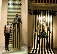 Lanvin stripes windows 2013, Paris visual merchandising