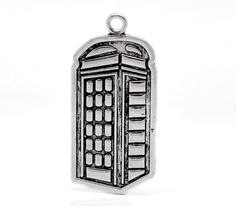1 Large Silver Metal POLICE BOX Pendant Charm (1 charm) . Doctor Who inspired