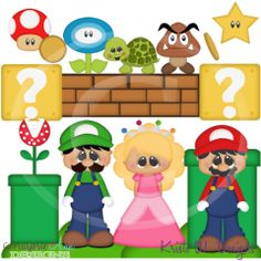 Mario Brothers SVG Cutting Files Includes Clipart
