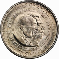 The last design released for the early commemorative coins was the George Washington Carver Half Dollar . The authorizing legislation pas. Rare Coins, Us Coins, Fiat Money, American Dollar, Uncirculated Coins, Booker T, Commemorative Coins, African American Men