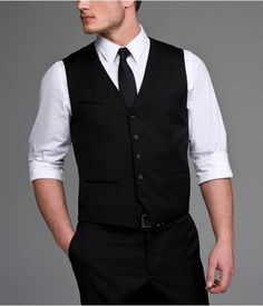 Express Mens Stretch Wool Blend Suit Vest Black, Small | Clothing