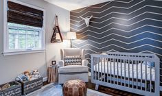 Baby Nursery: Eclectic Nursery Room With Grey Chevron Accent Wall And Rustic Beam Side Table Also Toys Box Coupled With Modern White Lounge Chair: Impressive Nursery Design With Creative Use of Color Baby Nursery Art, Baby Nursery Furniture, Baby Nursery Themes, Baby Nursery Neutral, Baby Boy Rooms, Baby Boy Nurseries, Nursery Room, Nursery Ideas, Room Ideas