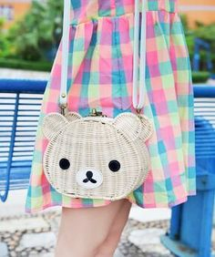 Rilakkuma bear shaped bag with metal closure and strap!! It measures 20x16x9 cm, strap is 130 cm adjustable.
