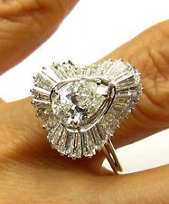 4.23CT VINTAGE PEAR DIAMOND BALLERINA ENGAGEMENT WEDDING RING EGL USA 14K W GOLD