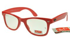 $12.66 [ raybansunglasses.hk.to ] #ray #ban #ray_ban #sunglasses #chic #vintage #new Great to own a Ray-Ban sunglasses as summer gift.Ray-Ban Wayfarer 2140 Red Frame Transparent Lens RB1080 [RB-1090] - $14.80 : Cheap Sunglasses,Cheap Sunglasses On sale