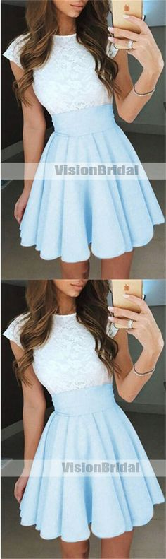 Two Pieces Top Lace Short Sleeves Short A-Line Homecoming Dresses, Charming Homecoming Dresses, Short Strapless Prom Dresses, Pink Prom Dresses, Trendy Dresses, Tight Dresses, Nice Dresses, Fashion Dresses, Short Sleeve Dresses, Short Sleeves, Middle School Dance Dresses