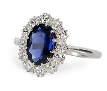 Oval Sapphire Diamond Cluster Ring