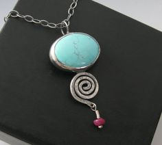 Sterling Silver Light Blue Turquoise Necklace with Ruby bead - Turquoise spiral necklace - silver turquoise pendant, by Amity Jewelry