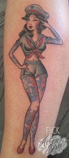 Custom traditional tattooed sailor pin up girl tattoo