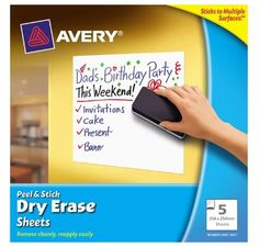Definitely want some of these! Avery Peel and Stick Dry Erase Sheets 5 Pack Classroom Setup, Preschool Classroom, Future Classroom, Stick On Whiteboard, Teaching Supplies, Dad Birthday, Getting Organized, How To Remove, Knowledge