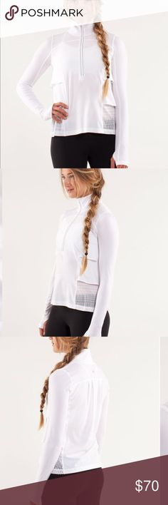 Lululemon sun runner hybrid pullover white 8 Good used condition. Some normal wear. A few untreated small spots.  Super thin .Inventory #200 lululemon athletica Jackets & Coats