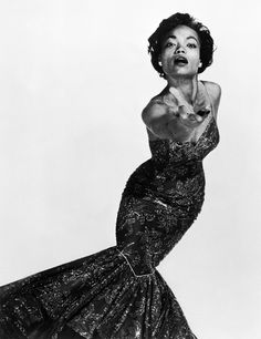 Now that's a fishtail skirt!  Eartha Kitt, 1955. Photographed by Philippe Halsman.