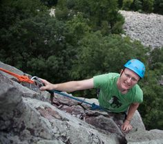 High above the talus slope on Beginner's Delight (5.4)