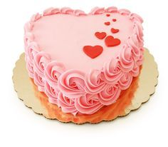 Just in time for Valentine's Day - a pink heart shaped cake. Available in chocolate with strawberry filling.