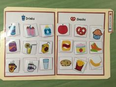 Sorting drinks and snacks: One of the Kitchen and Cooking File Folders for Special Education