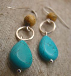 Turquoise Drop and Jasper Earrings with Handmade by Sewartzee, $15.00