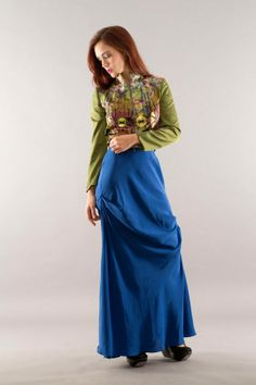 green jacket and blue silk skirt Milby