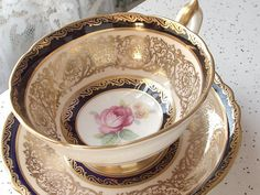 Antique English pink rose tea cup and saucer, Paragon tea cup, blue and gold tea cup, Bone China tea cup, blue tea cup, antique tea cup
