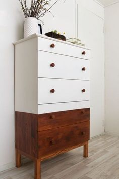 half-stained and half painted white Tarva dresser with stained knobs