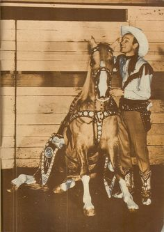 Roy and Little Trigger, the horse Roy used for personal appearances. The original Trigger was used for the movies and tv show.