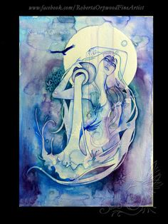 Aquarius Zodiac Goddess / Water Carrier / Air Elemental / Sacred Geometry / Star Sign / Astrology ~ Large Art Print by Roberta Orpwood