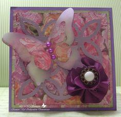 Purple Lattice Butterfly Card