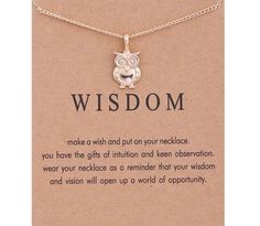 Owl, Wisdom Necklace, Owl Necklace, Dogeared Necklace, Motivational Jewelry, Gifts for Her, Gift Ideas, Owl Charm, Dainty Necklace, Birthday by MissFitBoutiqueCA on Etsy https://www.etsy.com/ca/listing/567437991/owl-wisdom-necklace-owl-necklace