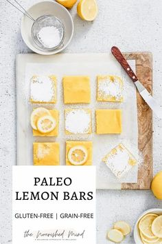 These healthy bars are everything a lemon bar should be: sweet, tart and super tasty. Grain-free and gluten-free, with minimal ingredients! Get your bake on   The Nourished Mind Paleo Lemon Bars, Healthy Bars, Summer Treats, Summer Desserts, Meal Planning Board, Lactose Free, Gluten Free, Strawberry Rhubarb Crisp, Bon Appetit