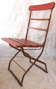 """Seat height 17 1/2"""", seat measures 16"""" wide and 13 1/2"""" deep, Back measures 33"""" tall. Seat has an old chipping, peeling coat of red paint. The frame has a chippy old coat of brick colored paint. Comfortable, for a folding chair, the rods at the base of the front and back legs make it good and stable.   eBay!"""
