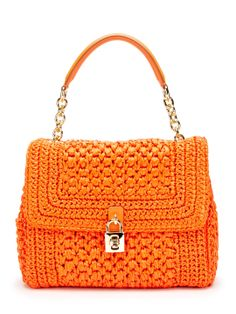 Medium Straw Padlock Dolce Satchel by Dolce & Gabbana -- another weaving goal/idea