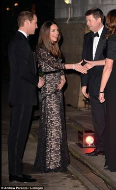 Glamorous: The Duchess of Cambridge donned the Temperley dress to attend the film screening with husband Prince William 11th Dec 2013