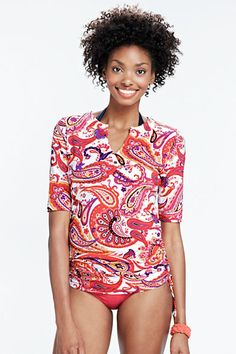 60aea812d9 Women's Paisley Adjustable Swim Tunic Rash Guard from Lands' End $49 Swim  Cover, Rash