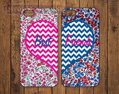 The Original Best Friends HotPink & Blue Chevron LOVE cases for iPhone 4/4s or iPhone 5/5s