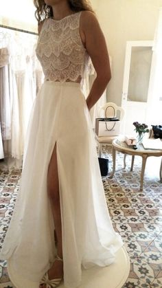 Beautiful and sensual with two piece lace wedding dresses (141)