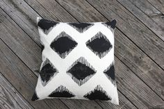 Maya pillow cover hand printed in black on by ChaneeVijayTextiles