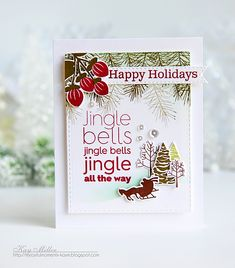 Jingle Bells Card by Kay Miller for Papertrey Ink (September 2016)