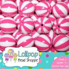 BEACH BALL Beads 20mm Beads Chunky Beads Watermelon Bead Hot Pink 10 ct Striped Bead Circus Gumball Bead Acrylic Beads Round Bubblegum Beads...