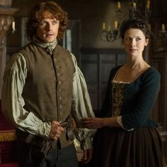 """Jamie (Sam Heughan) and Claire Fraser (Caitriona Balfe) in """"The Watch"""" of Outlander on Starz via http://fuckyeahjamieandclaire.tumblr.com/"""