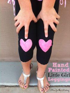 Make your own stylish little girl leggings! Tutorial at Mine for the Making