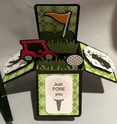 Items similar to Custom GOLF Themed Card Pop Up Card Greeting Card Pop Up Papercraft Gift Card Unique on Etsy Golf Cards, 3d Cards, Folded Cards, Cards Diy, Masculine Birthday Cards, Masculine Cards, Cadeau Golf, Pop Up Box Cards, Card Boxes