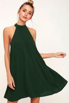 Love of Mine Forest Green Halter Swing Dress