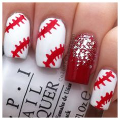 Baseball nails. Could do a Rangers T as the accent nail... @Lindsey Grande Grande Mills
