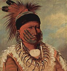 Portrait of The White Cloud,  Chief of the Iowas, by George Caitlin.