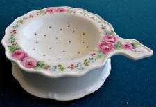 Pink Roses Vine Hand Painted China 2-Piece Tea Strainer Gold Trim Shabby Signed