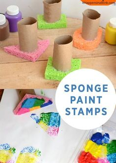 Sponge Painting Process Art: Super quick and easy toddler art activity; fun process art for toddlers and preschoolers Kids Crafts, Preschool Activities, Art Activities For Preschoolers, Toddler Arts And Crafts, Preschool Learning, Toddler Art Projects, Art Crafts, Creative Activities For Children, Preschool Shape Crafts