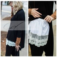 Shirt Extender White OR Black Scalloped Lace PREORDER