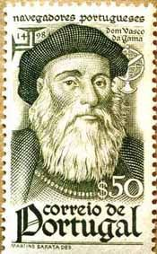Stamps ©: Stamp of Portugal [On Dom Vasco da Gama - [The Count of Vidigueira, was a Portuguese explorer, one of the most successful in the Age of Discovery and the commander of the first ships to sail directly around Africa from Europe to India. History Of Portugal, Portuguese Culture, Old Stamps, Going Postal, Small Art, Stamp Collecting, 16th Century, Postage Stamps, Vintage Posters